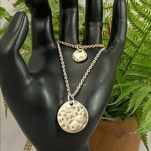 Layered silver gold star hammered disk necklace